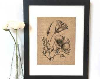Poppies Burlap Print // Rustic Home Decor // Flowers