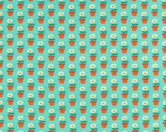 Cotton Beppo small flower pots on Turquoise (10.90 EUR / meter)
