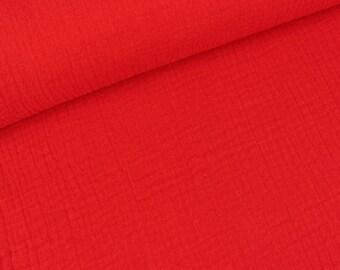 Cotton muslin double gauze red uni (10.90 EUR / meter)