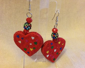 Red hearts earrings