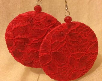 Big earrings lace Red