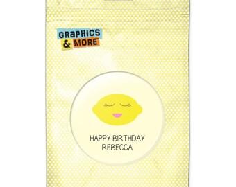 Happy Birthday Party Squinty Lemon Cute 2.25 Inch Diameter Personalized Custom Kitchen Refrigerator Locker Button Magnet