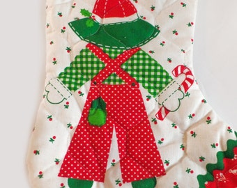 Vintage Christmas gardening quilted Stocking, garden lover christmas, red, green white stocking gardener in a hat vintage christmas decor