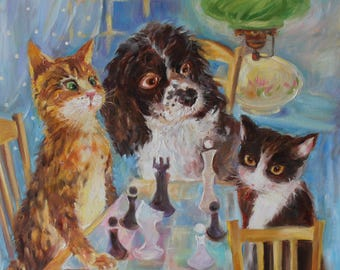 Original oil painting/whimsical animals/custom pet portrait/dog and cats playing chess/orange cat, black cat and spaniel