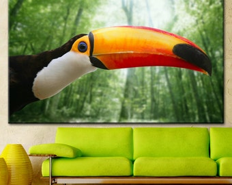 Toucan, Toucan in the Jungle, toucan bird art, bird, yellow beak, toucan art, toucan picture, toucan canvas, toucan wall decor
