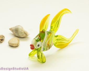 Glass Fish Figurine Blown Glass Fish Sculpture Home decor Glass Figurines Lampwork Murano Collectible Glass Animals