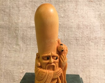 Hand Carved Netsuke God of Longevity and Wisdom