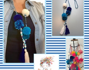 Boho necklace with pompoms - Ibiza ketting met pompons 5
