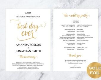 Wedding Program Printable Template -  Welcome wedding program - White Gold Wedding Program - Best Day Ever - Downloadable wedding #WDH0124