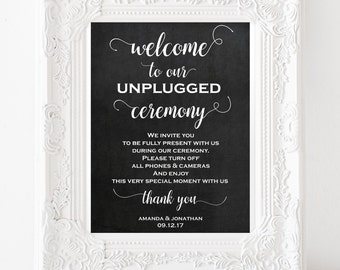 Unplugged wedding sign - Unplugged wedding sign - Ceremony decor - Outdoor signs - Editable Template - Downloadable Wedding #WDH0226