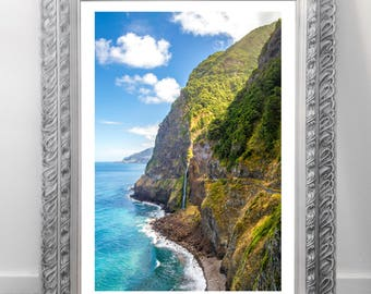 Nature waterfall poster picture print, print
