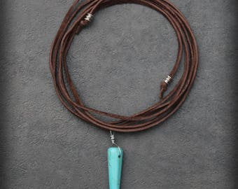 Bohemian Wrap Choker Necklace - Turquoise Spike on Brown Suede Cord