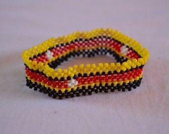 Uganda Flag Bracelet | Maasai beaded bracelets | Flag of Uganda | Ugandan flag wrist band.