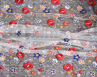 "51"" Width Colorful Spring Blossoming Flowers Embroidery Lace Fabric by the Yard"