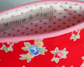 Handmade Zipped Pouch, Makeup Bag, Cosmetics Bag, Fabric Pouch
