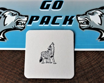 "4-pk ""Wolf"" Resusable Coasters-Hand Stamped-Made in USA-Ridgeview Wolpack"