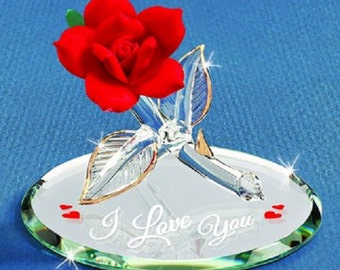 """Glass Baron Rose """"I Love You"""", Red"""