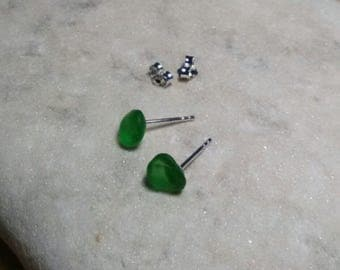 Lake Erie Green Sea Glass and Sterling Silver Post Earrings
