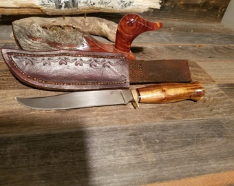 Hand made knife and leather case.  Zebra wood, brass guard, stainless blade.SALE