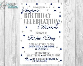 Blue Polka Dot Birthday & Dinner Invitation