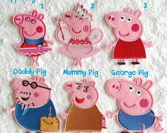 Peppa Pig Iron on Patch - George Pig Applique' - Peppa Pig Family Patches - Ready to Ship