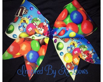 M&M Candy Cheer Bow m and m