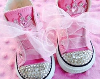 Pretty in Pink Princess Converse, embellished with Swarovski Crystals & satin ribbon.