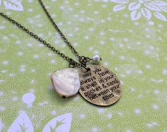 Beach jewelry, beach lover gift, beach vacation necklace, shell necklace, pearl, seashell necklace