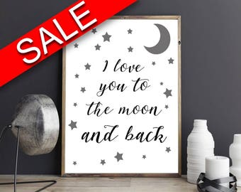 Wall Art I Love You To The Moon And Back Digital Print I Love You To The Moon And Back Poster Art I Love You To The Moon And Back Wall Art
