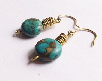 Earrings,blue earrings,stone earrings,dainty earrings,elegant earrings,gift for her, wire-wrapped earrings,SImple jewelry,minimalist jewelry