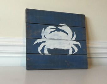 Nautical Wall Decor- Nautical Decor- Crab Decor- Beach Decor- Beach Signs- Beach House Decor-Nautical Wood Signs- Rustic Home Decor
