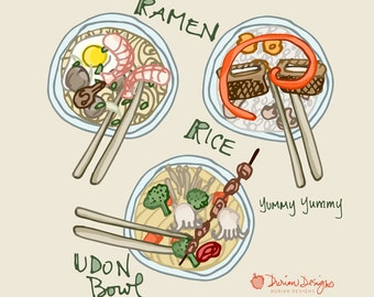 Design your own noodle bowl clip art, commercial use, ramen, udon, rice bowls, Asian food clipart, vegetables, royalty-free instant download