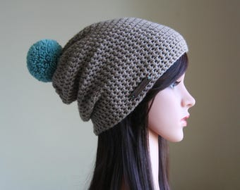 Beige Slouchy Beanie with Turquoise Pompom