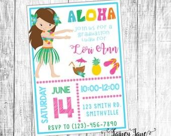 Luau Party Invitation, Graduation Party Invitation, Customized Party Invitation, Customized Invitation, Graduation Luau Party, Aloha Invite