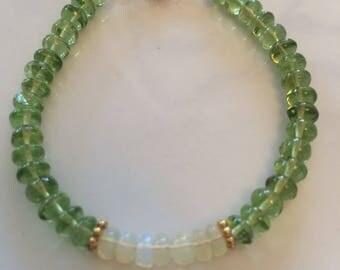 Peridot with welo opal bracelet