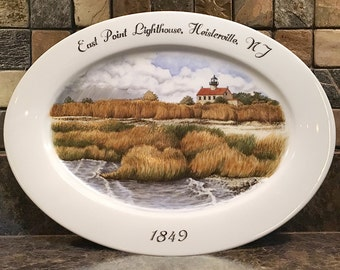 East Point Lighthouse, custom hand painted porcelain, landscape, seascape, lighthouse