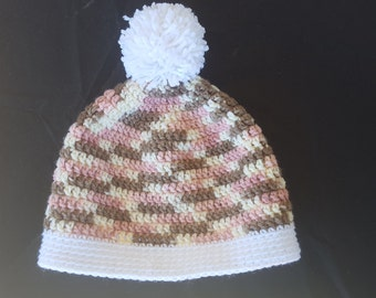 pink and light brown crochet beanie