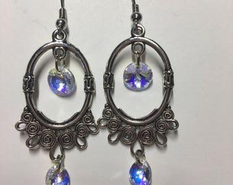 Silver Swarovski crystal chandelier earrings