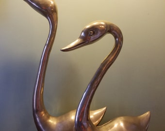 Giant Brass Swans (2) 26 Inches Tall