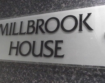 House Sign Number Name Plaque Mordern FROSTED GLASS ACRYLIC Larger Size