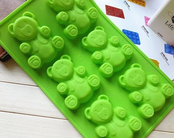 DIY Cupcake Bake 6 hole obediently bear diy soap silicone pudding / bakery biscuit /Cake mold
