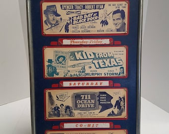 Antique Vintage Drive in Movie Theater Advertising Board, lobby cards. Fort Roc, South Carolina  <<< RARE Movie Memorabilia