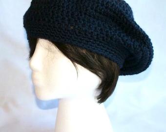 Navy blue slouchy hat, beret hat