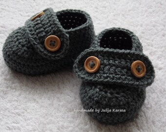 Crochet baby shoes, handmade baby booties, baby shower gift, booties for baby newborn, 0-3 months or 3-6 months, baby loafers crochet