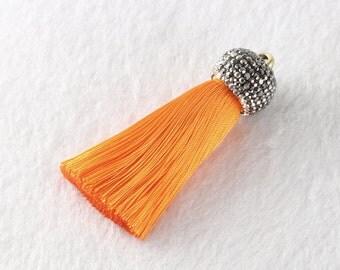 Tassels DIY Craft Supplies Orange Jewelry tassels Chunky tassel Short Boho tassels Small tassels Fringe Trim Womens Gift