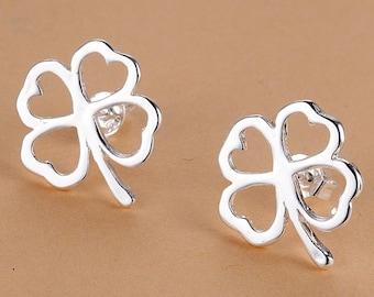 Silver plated stud earrings, Small womens earrings, 925 silver earrings, Four leaf clover earrings, Lucky cute romantic cheap earrings B43