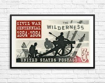Civil War centennial, Battle of the Wilderness, United States Postage, civil war cards, civil war art, civil war posters, red and black art