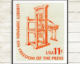 US classroom wall decor, Freedom of Press art, unique journalist gift idea, journalism student graduation gift, US history education poster