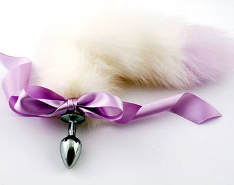 Lilac/  white purple tip petplay tail butt plug. Beautiful faux fur hand dyed to create this custom kitten play tail - MATURE bdsm tail