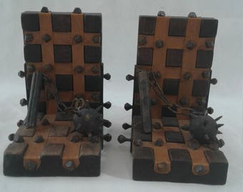 Gothic Renaissance 13th Century Medieval Flail Bookends